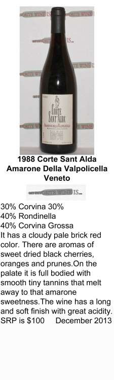 1988 Corte Sant Alda Amarone Dell Vallpolicella for WEB