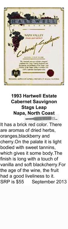 1993 Hartwell Estate Cabernet Sauvignon for WEB