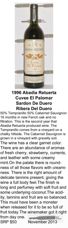 1996 Abadia Retuerta Cuvee El Palomar for WEB