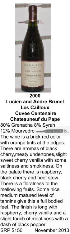 2000 Les Cailloux Cuvee Centenaire for WEB
