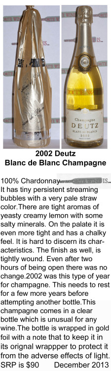 2002 Deutz Blanc de Blanc Champagne  for WEB
