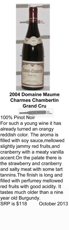 2004 Domaine Maume Charmes Chambertin for WEB