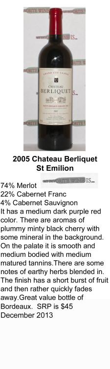 2005 Berliquet St Emilion for WEB