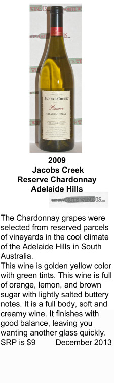 2009 Jacobs Creek Chardonnay for WEB