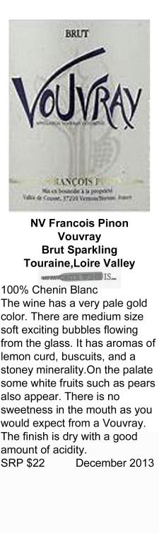 NV Francois Pinon Vouvray Brut Sparkling for WEB