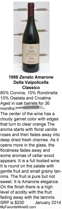 1988 Zenato Amarone Classico My Favorite Wine Is