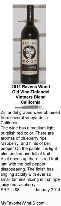 2011 Ravens Wood Old Vine Zinfandel Vintners Blend