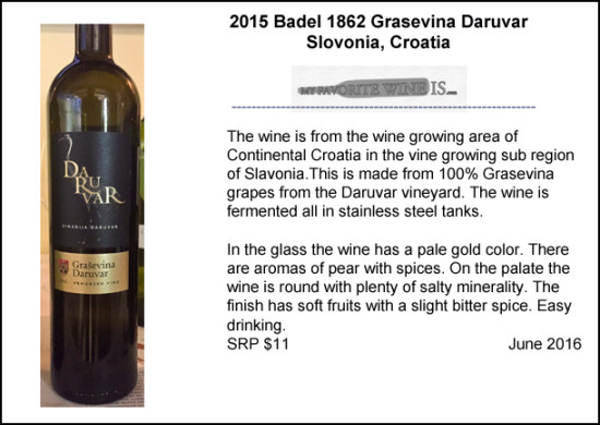 2015 Badel 1862 Grasevina Daruvar Wine from Croatia