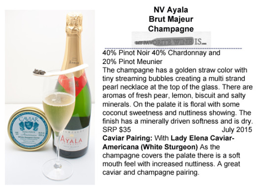 Ayala Brut Majeur NV Champagne with White Sturgeon caviar