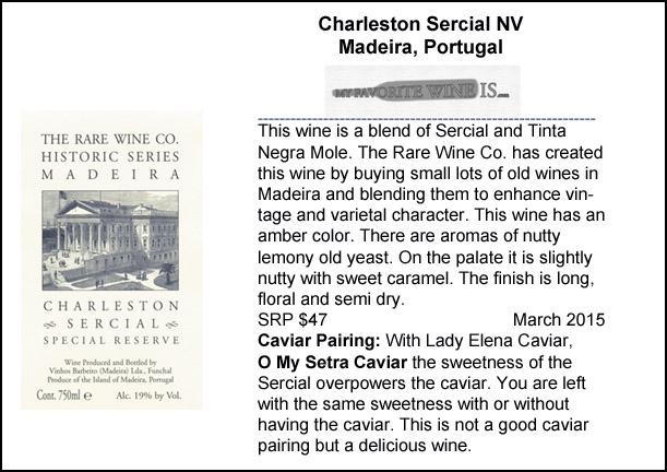 Charleston Sercial NV Madiera caviar pairing