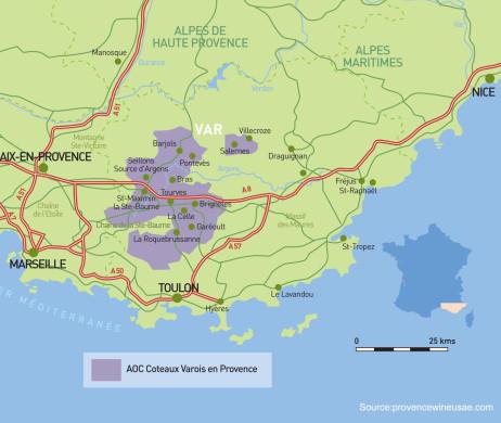 Coteaux Varois Provence Appellation Map