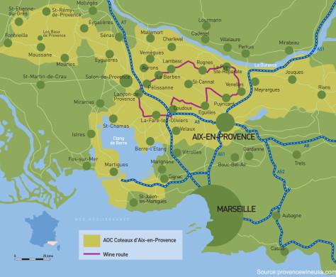 Coteaux d Aix en Provence Appellation Map