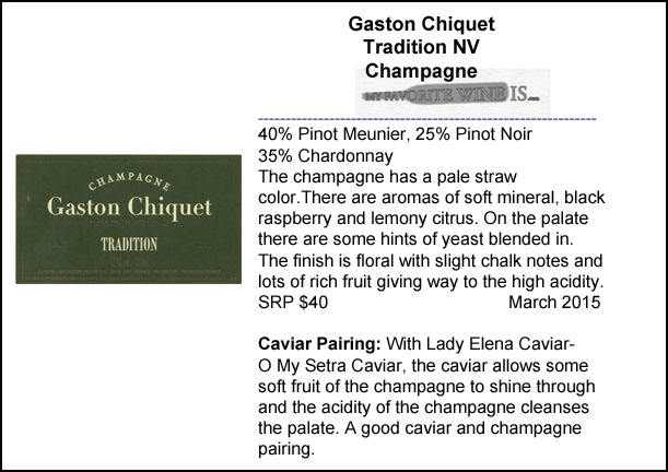 Gaston Chiquet Tradition Brut NV Champagne and Caviar Pairing