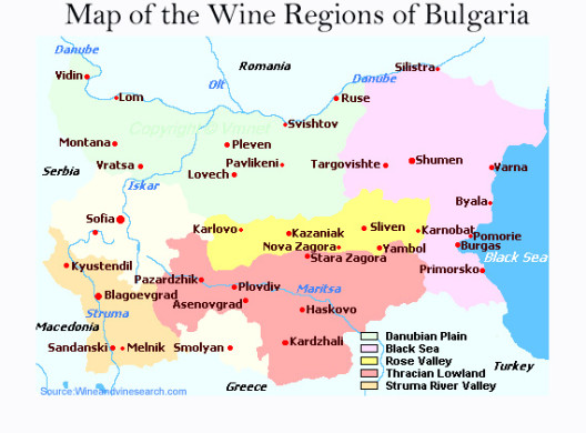 Map of Bulgaria Wine Regions and Surrounding Countries