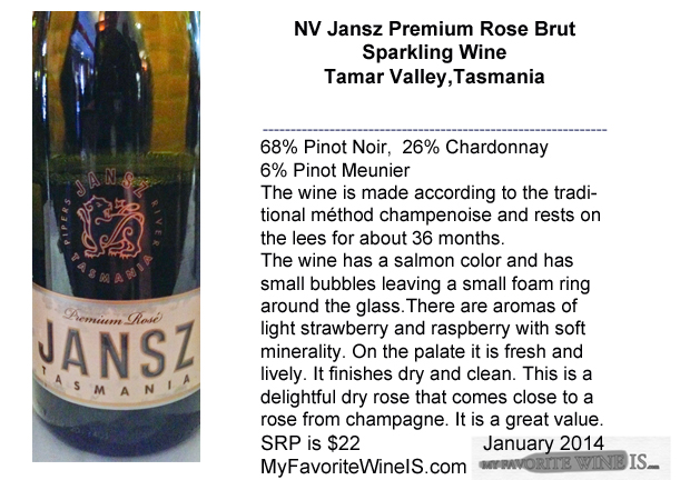 NV Jansz Premium Rose Brut Sparkling Wine from Tasmania