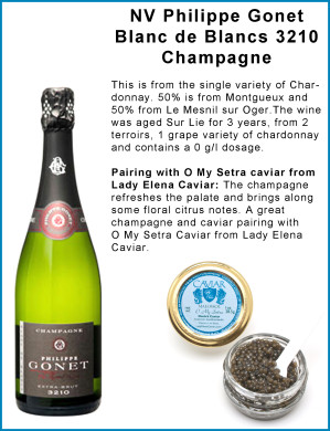 NV Philippe Gonet Blanc de Blancs 3210 Champagne Paired with O My Setra Caviar