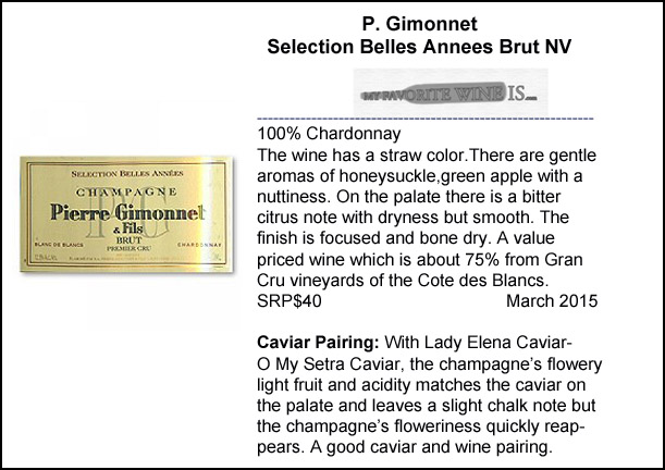 P Gimonnet Selection Belles Annees Brut NV Champagne and Caviar Pairing