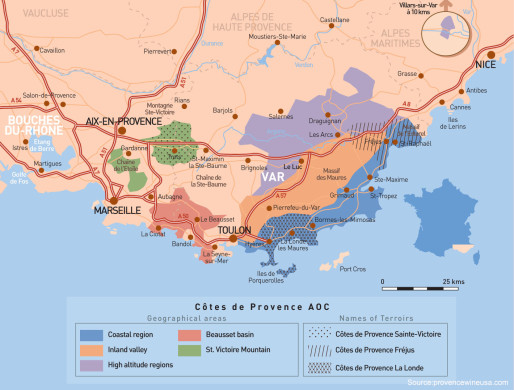 Provence Geographical Area Map