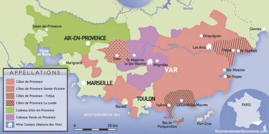 Provence Wine Appellation Map