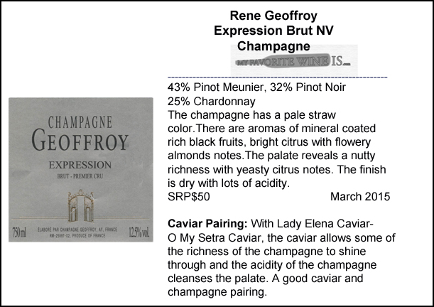 Renee Geoffroy Expression Brut NV Champagne and Caviar pairing