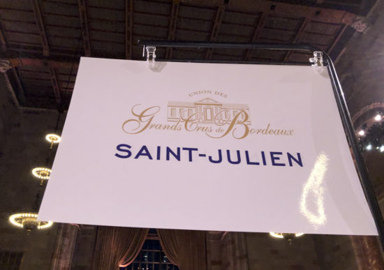 St Julien sign at 2016  Bordeaux wine Tasting
