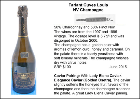 Tarlant cuvee Louis NV Champagne with Elegance caviar pairing